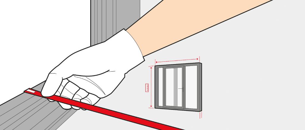 Measure a lift-and-slide door size