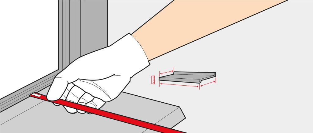 Measure a window sill