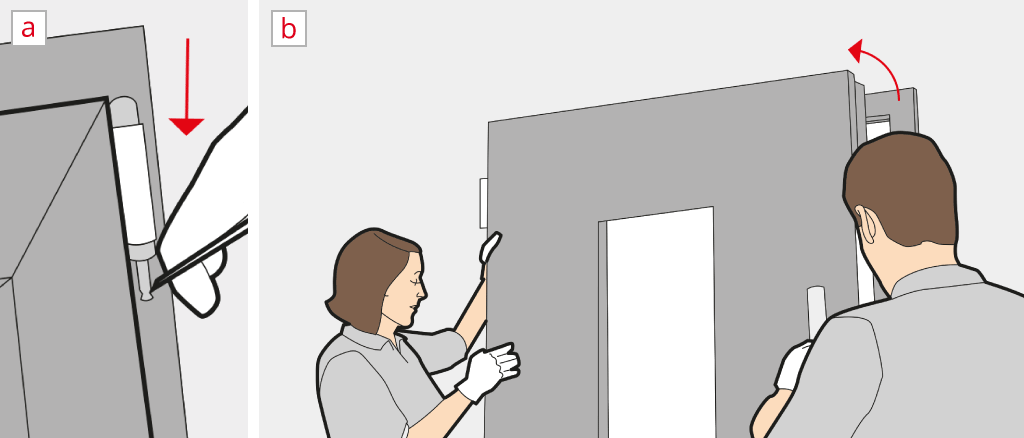 Unhinge a front door