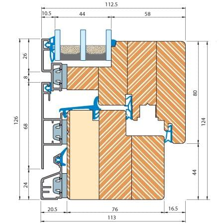 Detailed drawing of ECO Plano Aluminum Clad Wood window