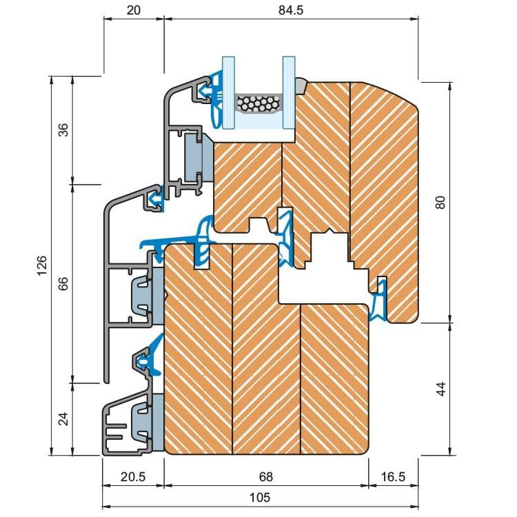 Composite Window Idealu Classicline 68, Detail Drawing