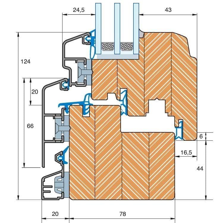 Aluminum Clad Wood Trendline IV 78 window, detailed drawing
