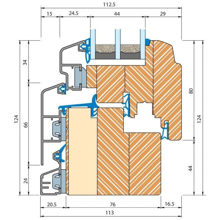 Aluminum Clad Wood ECO Idealu Trendline window details