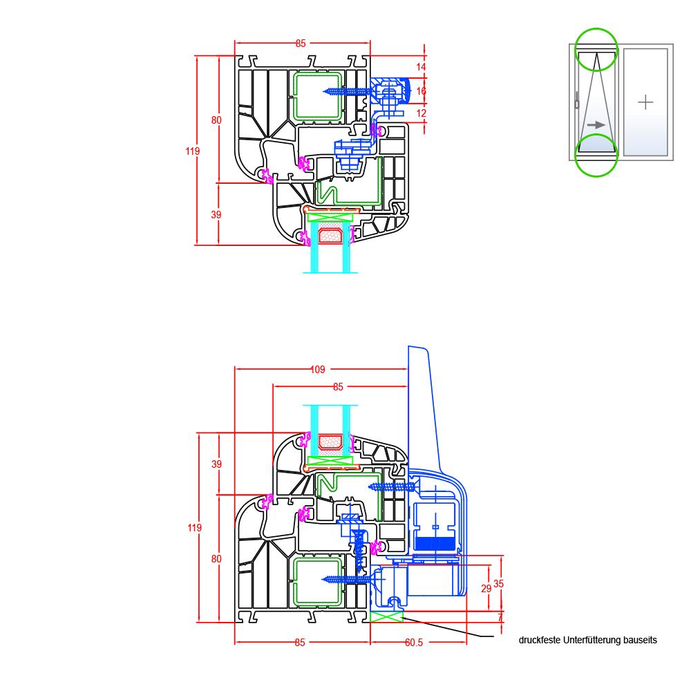 Ideal 8000 parallel sliding tilt door