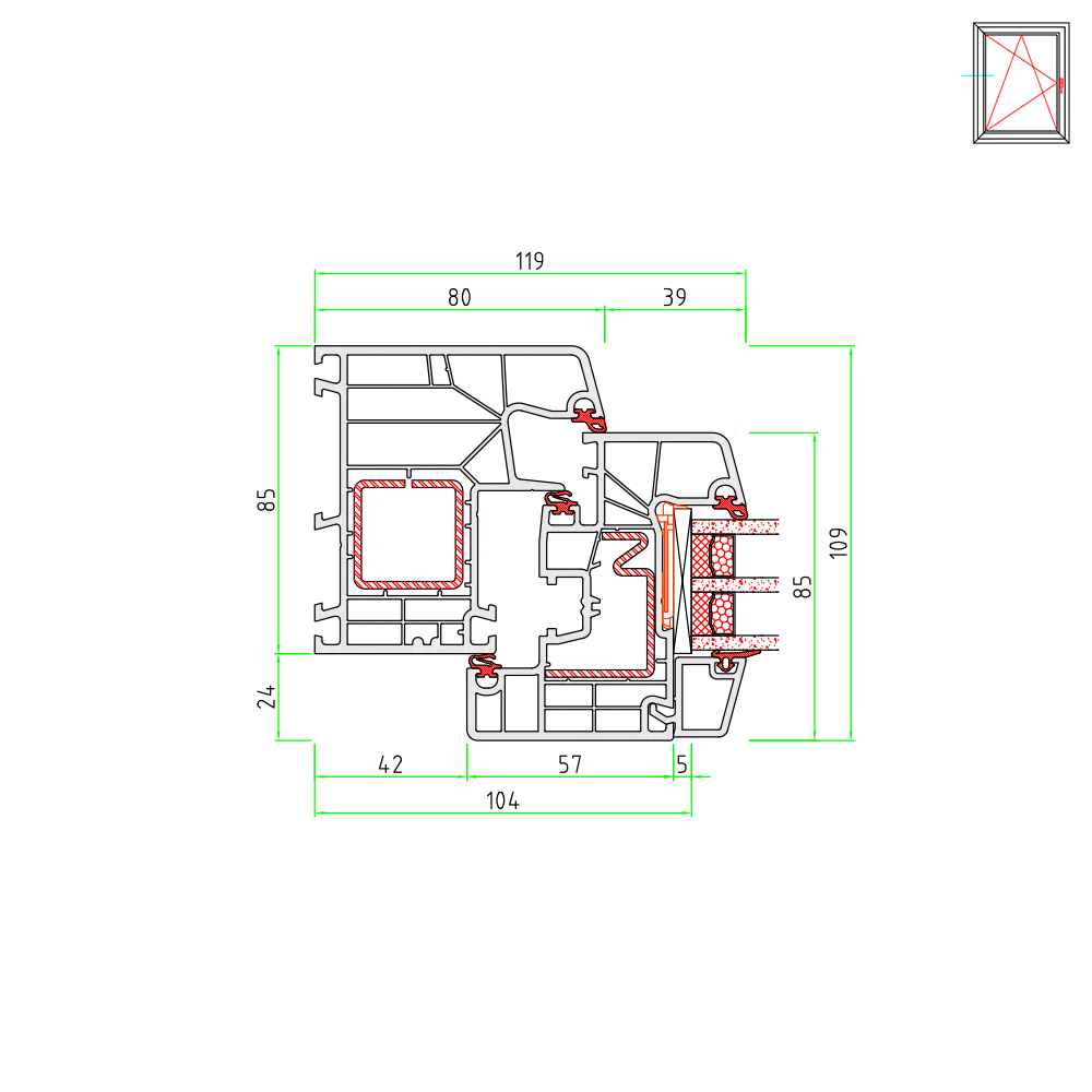 Ideal 8000 frame and casement