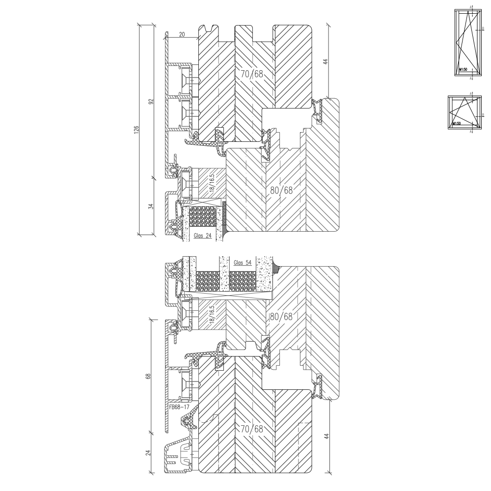 Detailed drawings of aluminum clad wood windows