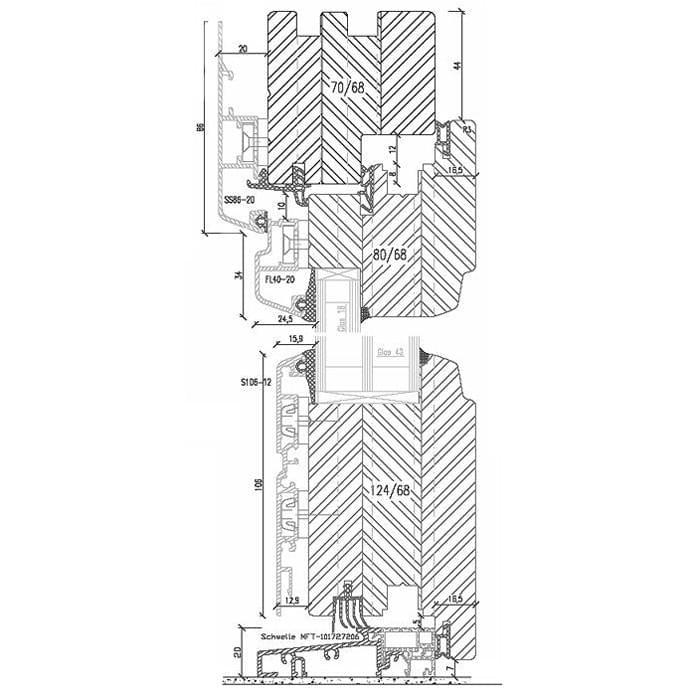 Aluminum Clad Wood Patio Door with Ground sill