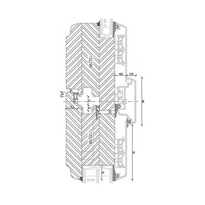 Double-winged patio door with door hardware