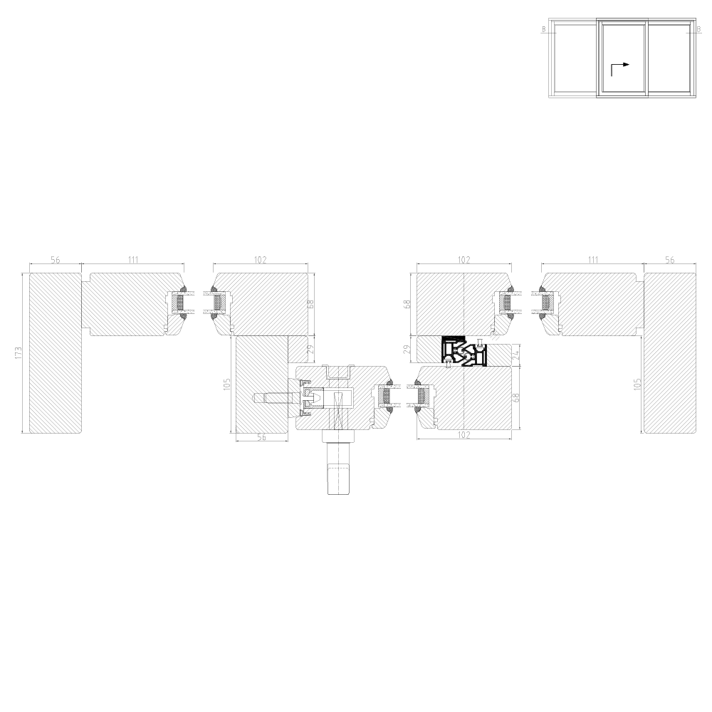 Wood Lift and SlideIV68 Scheme G Cross Section