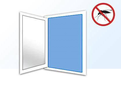 schematic window with fly screen