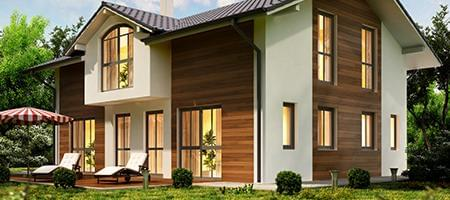 Balcony doors on a wood facade house
