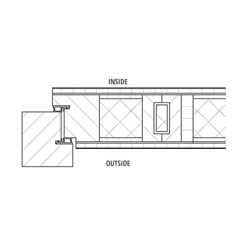 Entry door with closed door leaf - detail drawings