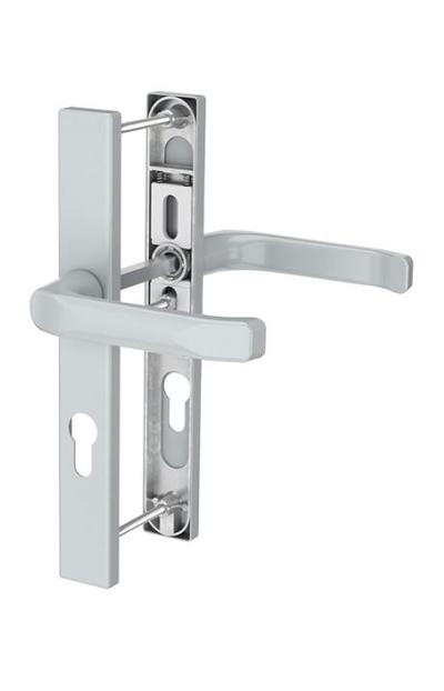 Inside front door push handle with return spring
