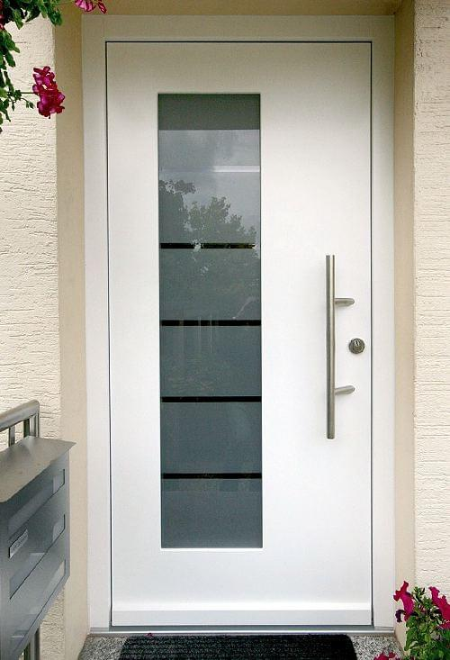 Wooden front door with glass panel
