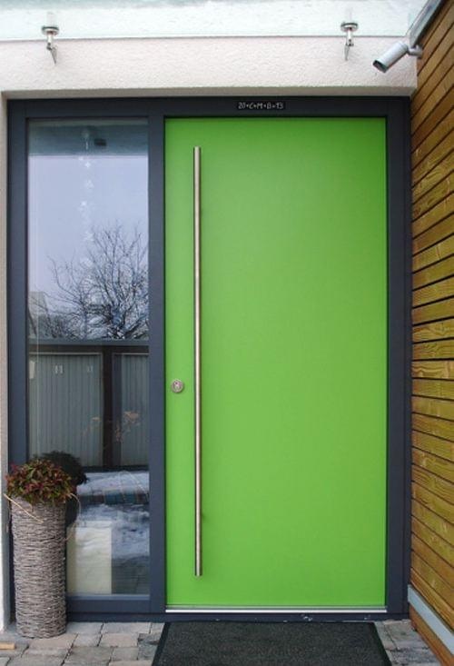 Green wooden front door
