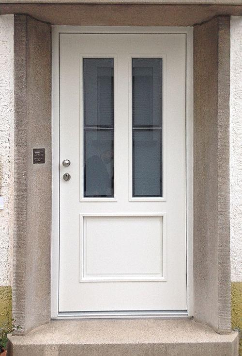 White wooden front door