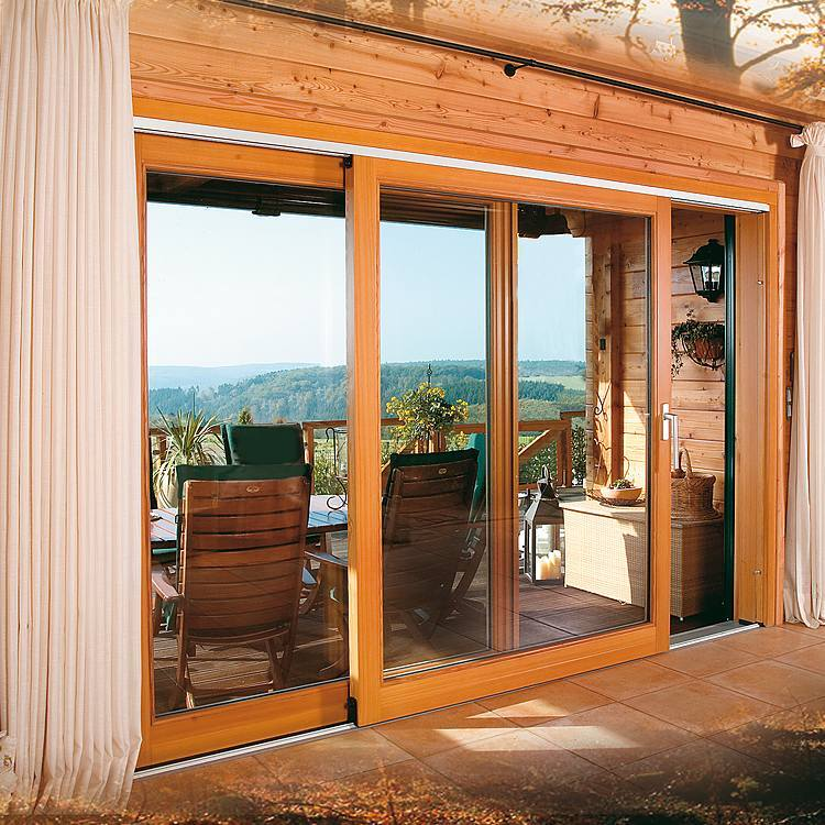 Interior view of pine wood lift and slide door