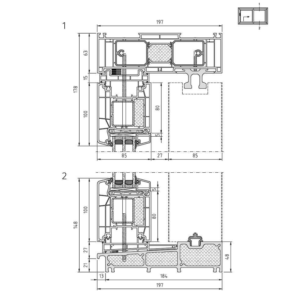 Cut 1: upper exterior fixed glazing / Cut 2: lower exterior fixed glazing