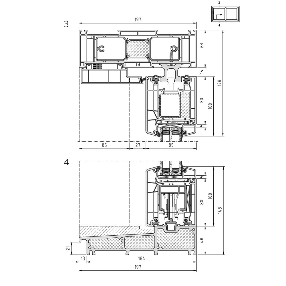 Cut 3: upper interior sliding casement / Cut 4: lower interior sliding casement