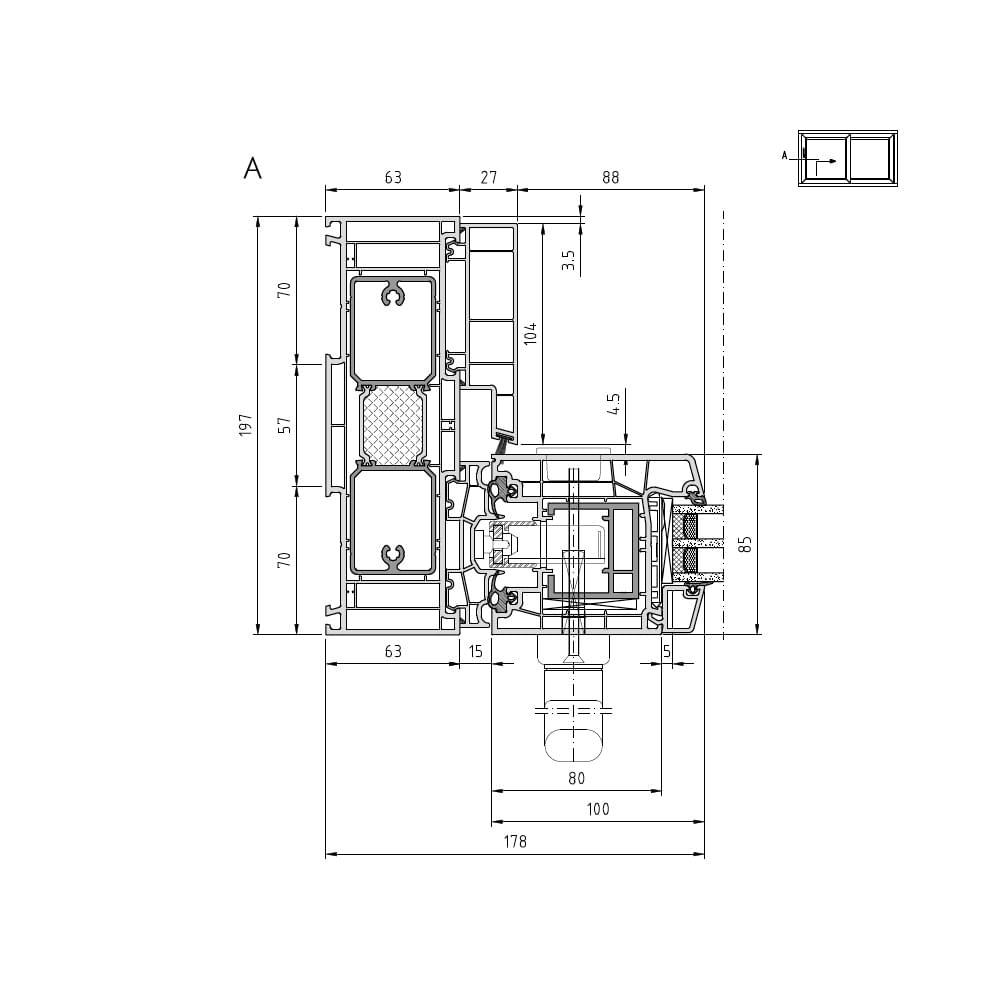 Cut A: left interior sliding casement