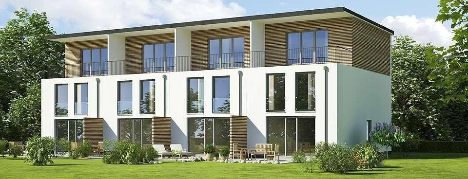 Row of modern apartments with French doors on balcony