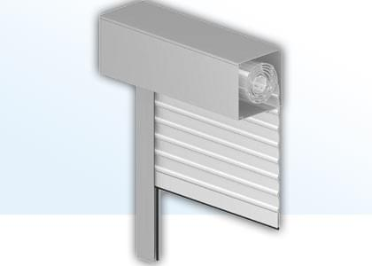 Cross section of front-mounted roller shutters