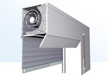 Cross section of top-mounted roller shutters